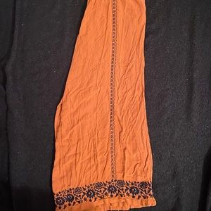 Flowy Embroidered Orange Pants
